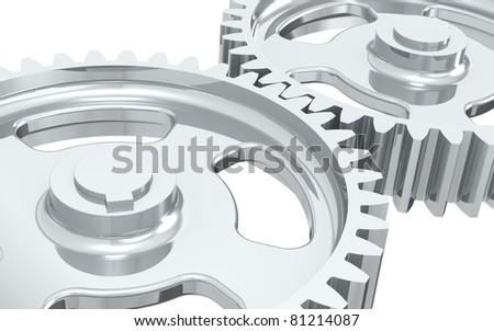 Machine Gears. Close-up of Machine Gears, Chrome. - stock photo