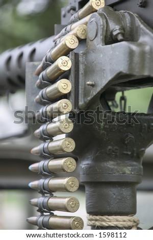 Machine gun and ammo - stock photo