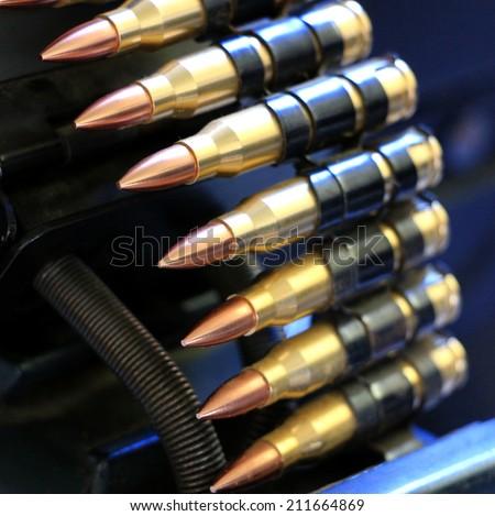 Machine gun bullet clip - stock photo