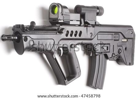 machine gun close up isolated on white background - stock photo