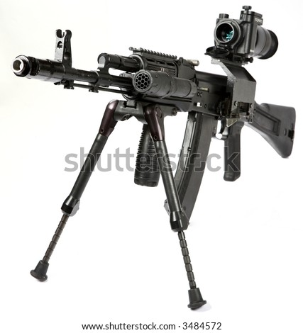 Machine gun Kalashnikov on the tripod and optical sight - stock photo
