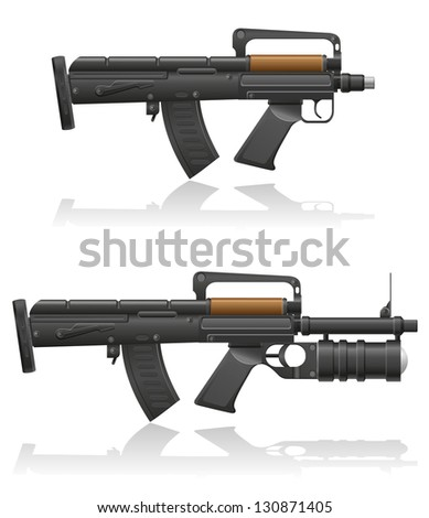 machine gun with a short barrel and grenade launcher illustration isolated on white background