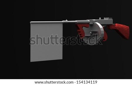 machine gun with a sign - stock photo