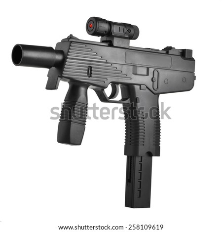 Machine gun with laser sight isolated on white background - stock photo