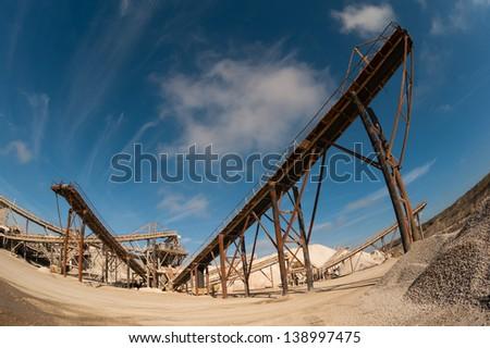 machine in the quarry rag - stock photo