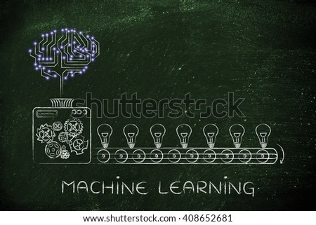 machine learning: electronic circuit brain on factory machine producing ideas