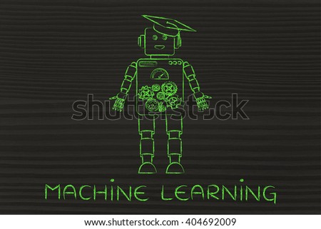 machine learning: funny robot with graduation hat, concept of artificial intelligence - stock photo
