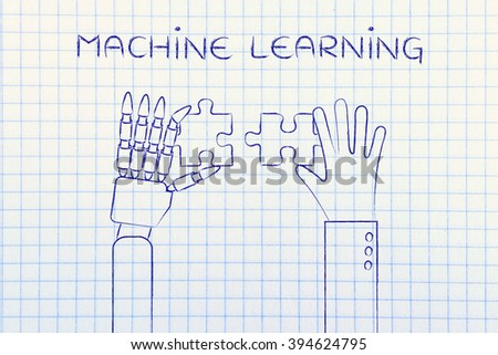 machine learning: human and robot hands solving a puzzle - stock photo