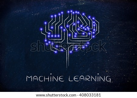 machine learning: robotic brain made of microchip ciircuits with led lights - stock photo