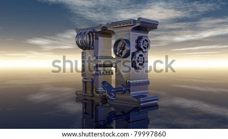 machine letter h under cloudy sky - 3d illustration - stock photo