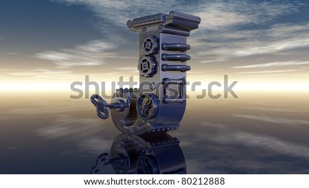 machine letter j under cloudy sky - 3d illustration
