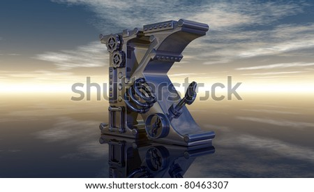 machine letter k under cloudy sky - 3d illustration