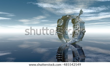 machine letter o under cloudy sky - 3d illustration