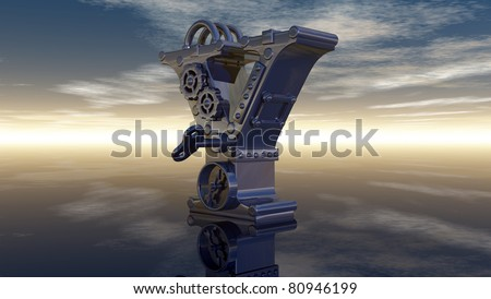 machine letter y under cloudy sky - 3d illustration - stock photo