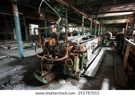 Machine on the abandoned textile factory