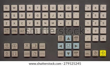 Machine operator panel, control operator panel keyboard, industrial keyboard. - stock photo