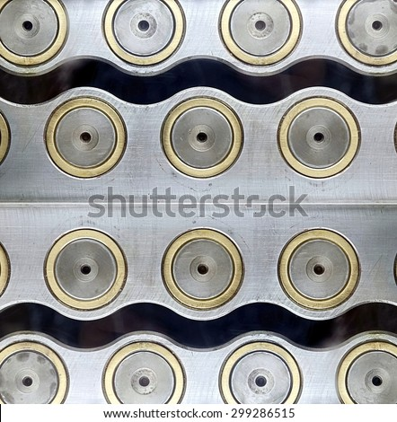 Machine tool component with concentric steel circles - stock photo