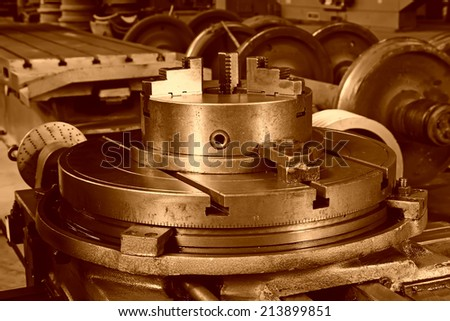 machine tools in a workshop, closeup of photo