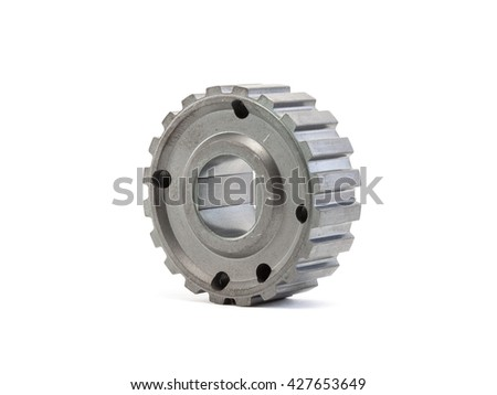 Machined part of gear isolated on white, automotive industry