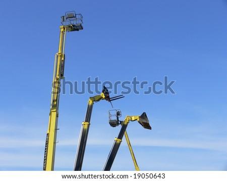 Machinery - Cherry picker ramps - stock photo