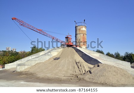 Machinery for preparing a solution of cement and sand ,silo - stock photo