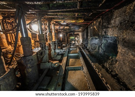 machinery in modern coal mine - stock photo