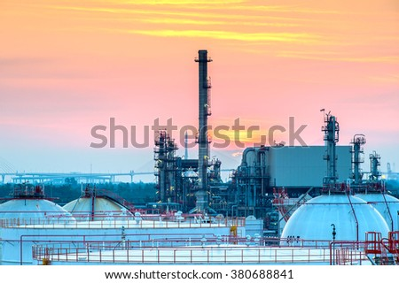 Machinery in Oil refinery plant with beautiful  sky background. - stock photo