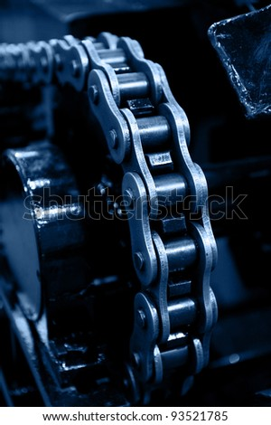 machinery powered by chain gear. - stock photo