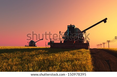 Machines for harvesting on a background blue sky - stock photo