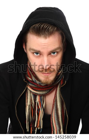 Macho man in a hoodie with a scarf. White background. - stock photo