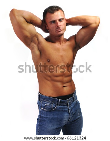 Macho man with jeans, chest, stomach and biceps, muscle body