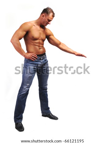 Macho musculature man with a copy space isolated on white - great for your text or picture under his hand