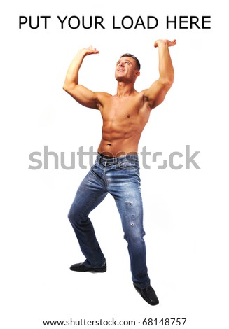 Macho musculature man with a copy space isolated on white - GREAT TO LOAD YOUR TEXT OR PICTURE ETC.
