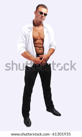 Macho sexy man with shirt
