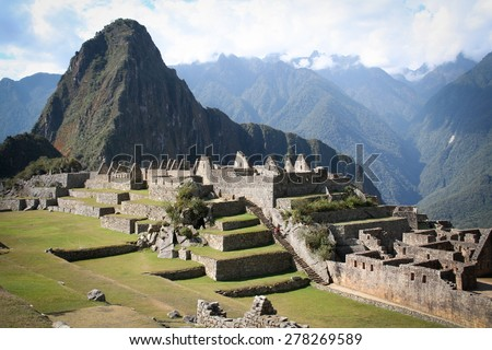 Machu Picchu, a Peruvian Historical Sanctuary in 1981 and a UNESCO World Heritage Site in 1983. One of the New Seven Wonders of the World - stock photo