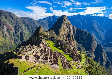 Machu Picchu, a UNESCO World Heritage Site in 1983. Machu Picchu is a one of the New Seven Wonders of the World. - stock photo