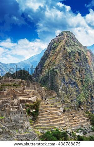Machu Picchu and Huayna Picchu mountain - stock photo