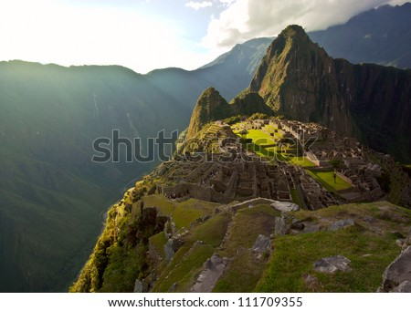 Machu Picchu, Andes, Sacred Valley, Peru - stock photo