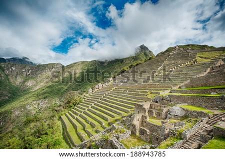 Machu Picchu details of the lost City in Peru - stock photo