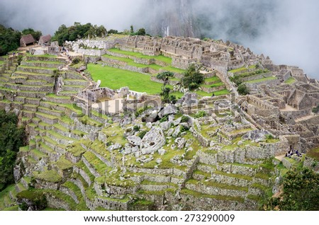 Machu Picchu in Peru. UNESCO World Heritage Site - stock photo