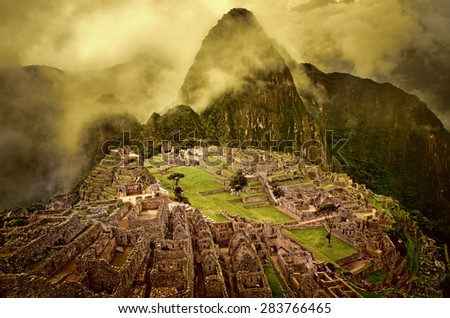 Machu Picchu in Peru. UNESCO World Heritage Site - stock photo