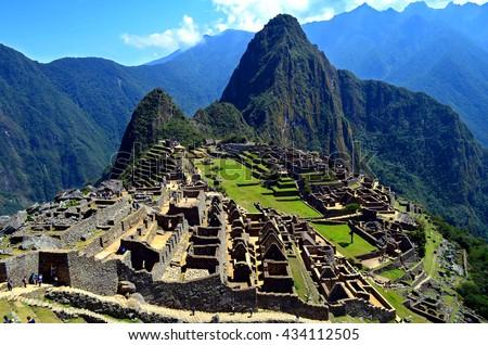 Machu Picchu, Incas ruins in the peruvian Andes at Aguas Calientes, Peru - stock photo