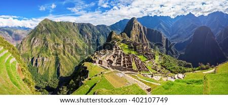 Machu Picchu or Machu Pikchu in Peru. Machu Picchu is a Inca site located in the Cusco Region in Peru. Machu Picchu is one of the New Seven Wonders of the World. - stock photo