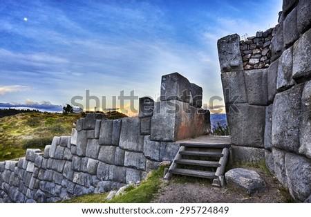 MACHU PICCHU, PERU - MAY 31, 2015: View of the ancient Inca City of Machu Picchu. The 15-th century Inca site.'Lost city of the Incas'. Ruins of the Machu Picchu sanctuary. UNESCO World Heritage site. - stock photo