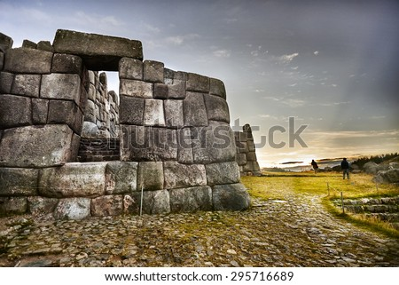MACHU PICCHU, PERU - MAY 31, 2015: View of the sourronding mountain landscape of the ancient Inca City of Machu Picchu.  UNESCO World Heritage site. - stock photo