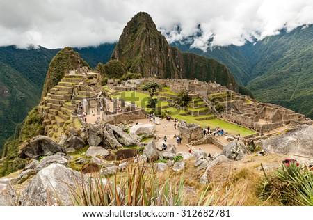 Machu Picchu (Peru, South America), a UNESCO World Heritage Site - stock photo