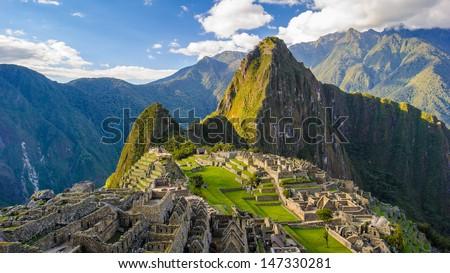Machu Picchu (Peru, Southa America), a UNESCO World Heritage Site - stock photo