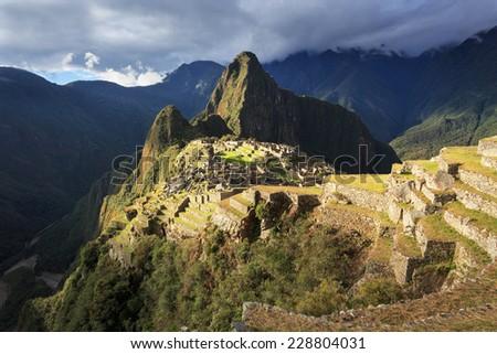 Machu Picchu, Peru, UNESCO World Heritage Site. One of the New Seven Wonders of the World - stock photo