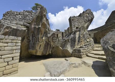 Machu Picchu, Peru, UNESCO World Heritage Site. One of the New Seven Wonders of the World. - stock photo