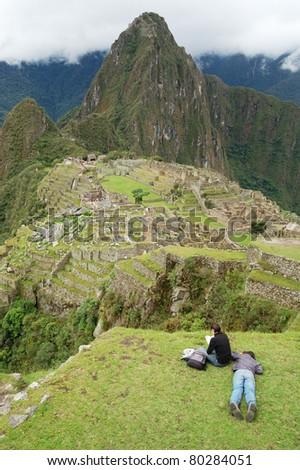 Machu Picchu relaxation - stock photo